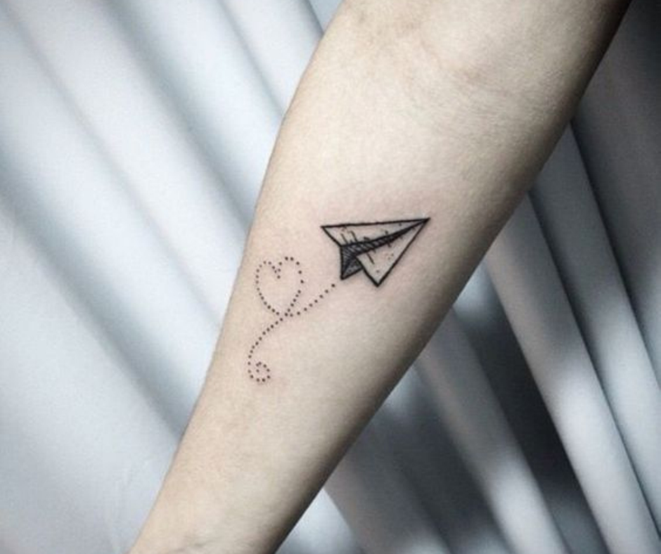 paper airplane tattoo designs