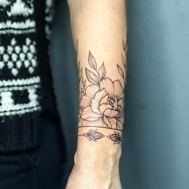 CUTE BRACELET TATTOO WITH PEONIES