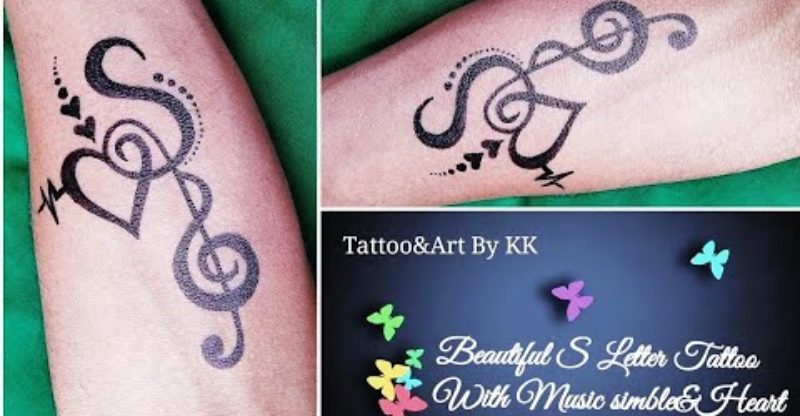 s letter tattoo mehndi design